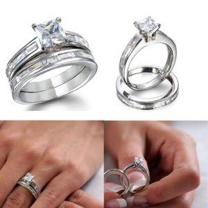 Princess cut Engagement / Wedding Ring Set